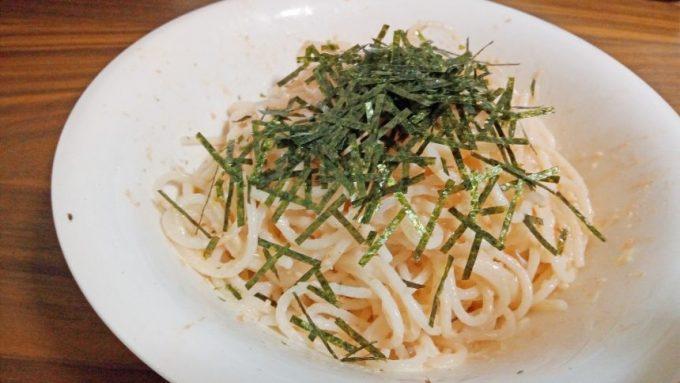明太子パスタにした米粉スパゲティ