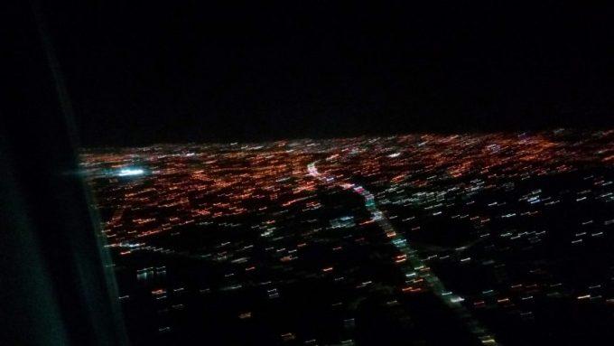 台湾の夜景(着陸前の飛行機から)