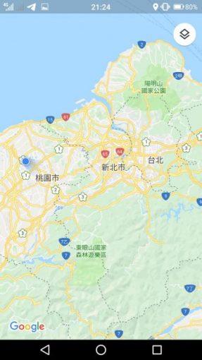 台湾桃園空港周辺をさすGPSマップ