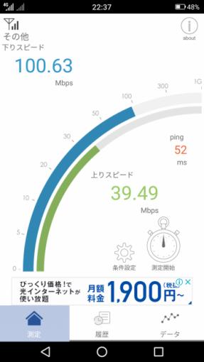 通信速度計測画面(100.63Mbps)