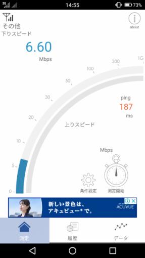 通信速度計測画面(6.60Mbps)