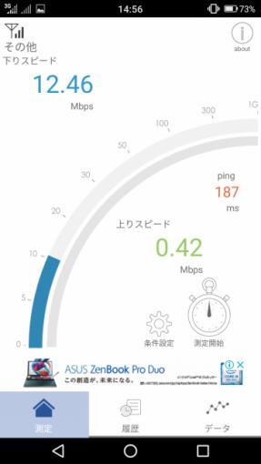 通信速度計測画面(12.46Mbps)