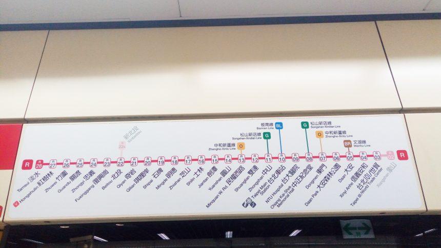 台湾MRTの現在乗ろうとしているラインの各駅案内