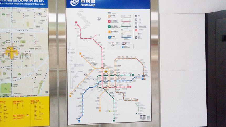 台湾、松江南京駅に掲示されたMRT(台湾の地下鉄)路線図