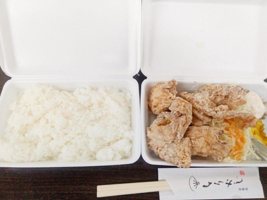 白ご飯と唐揚げ