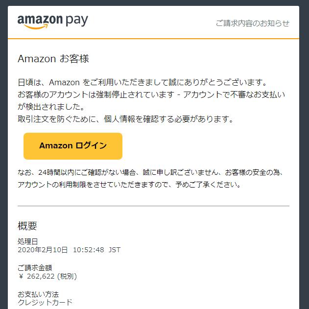 アマゾンペイの詐欺メール